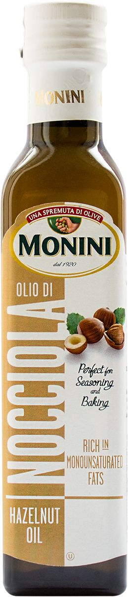 Monini масло из лесного ореха, 250 мл0120710Масло c приятным вкусом лесного ореха подходит для добавления в выпечку, заправки первых, вторых блюд, овощных салатов.