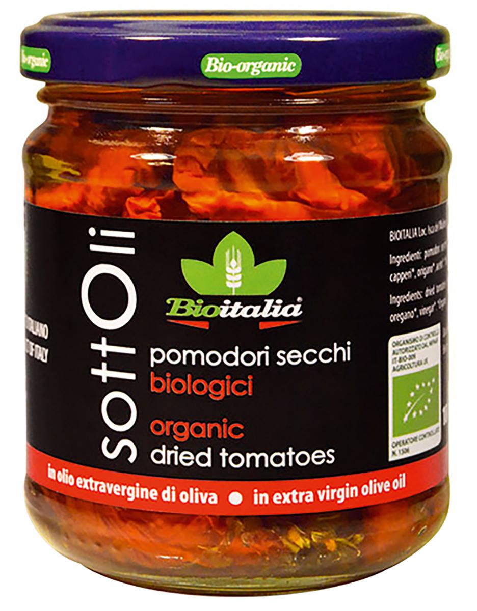 Bioitalia Томаты сушеные в оливковом масле, 180 г1770006Измельченные вяленые томаты со средиземноморскими травами и оливковым маслом. Неподражаемый крем с мягким вкусом идеально подходит для брускет и бутербродов, пасты, мяса и овощных рагу. Прекрасный ингредиент для соусов и разнообразных салатов.
