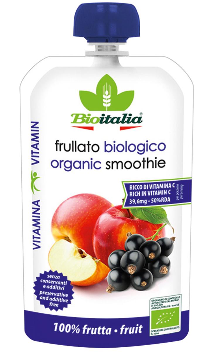 Bioitalia Пюре из яблока и черной смородины смузи, 120 г1770253Чернаясмородина– рекордсмен по содержанию витамина С; в ароматнойягодке его больше, чем в апельсинах!