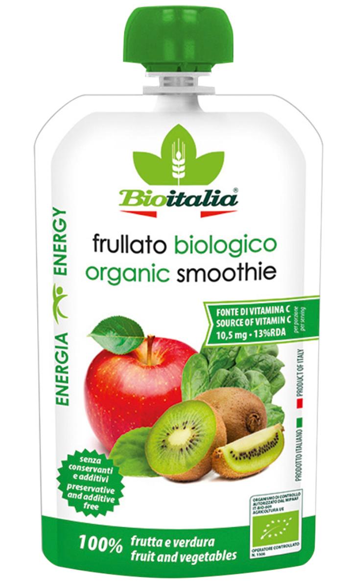 Bioitalia Пюре из яблока, киви и шпината смузи,120 г1770257Смузинаоснове 100% натурального сока понравится любителям необычныхвкусовых сочетаний.