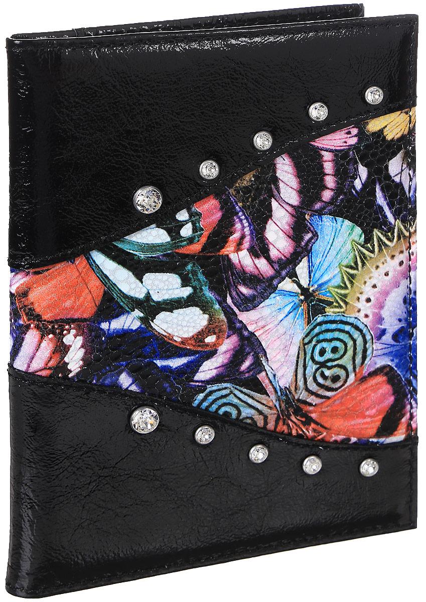 Бумажник водителя женский Butterfly, цвет: черный. EL-NK271-BV0013-000CA-3505Бумажник водителя Elisir стандартного размера, из натуральной кожи. Внутри 4 кармана для кредиток и 2 открытых кармана из кожи. Упакован в подарочную коробку Elisir.
