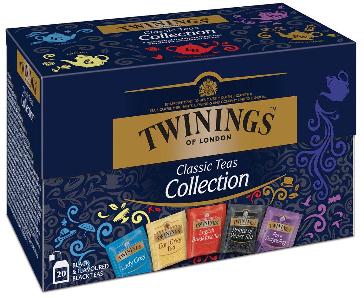 Twinings Classic Collection черный чай пяти видов в пакетиках, 20 шт4607051542457Чай черный в пакетиках Twinings Classic Collection (Твайнингс Классическая коллекция) - это специальная упаковка, содержащая 5 видов черного ароматизированного чая Twinings, индивидуально упакованного, по 5 пакетиков каждого вида: Английский чай для завтрака, Эрл Грей, Леди Грей, Принц Уэльский и Дарджилинг.
