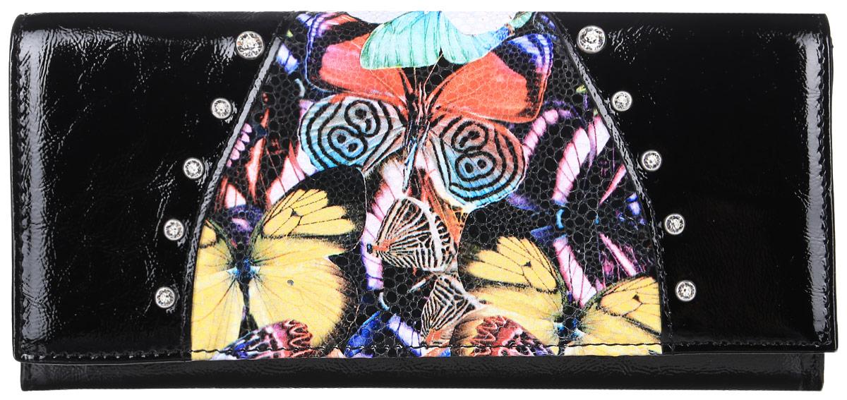 Портмоне женское Elisir Butterfly, цвет: черный. EL-NK271-PR0032-000S98156Портмоне женское Elisir, коллекция Butterfly декорировано кристаллами Swarovski, выполнено из натуральной лаковой кожи. Передний клапан закрывается на кнопку. На задней стенке скрытый карман. Внутри 3 отделения для купюр, 2 скрытых кармана, глубокий карман, отделение для мелочи на молнии, 8 карманов для кредиток.