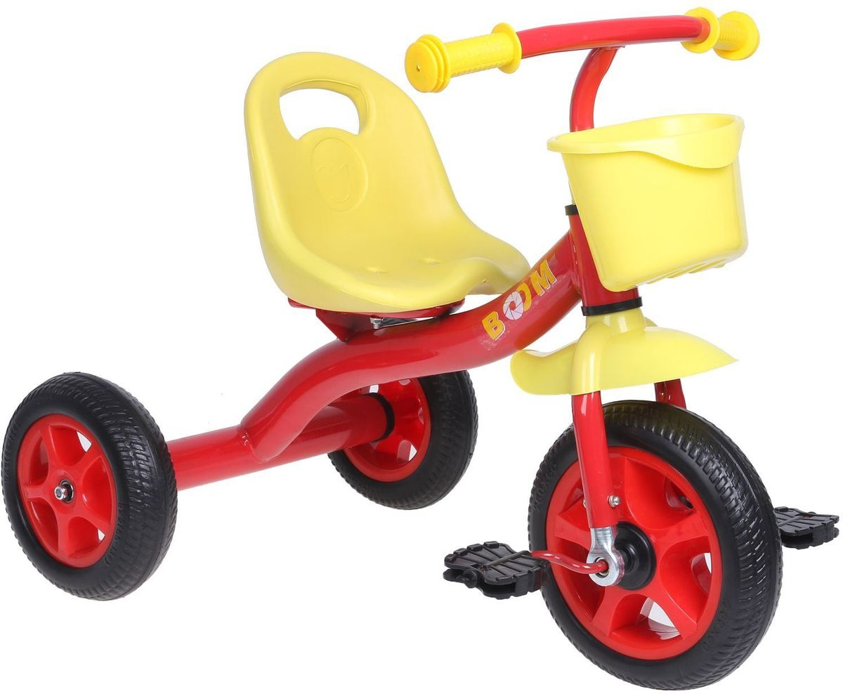 Micio Велосипед детский трехколесный Micio Boom 2017 цвет красныйRA-Удобный, надёжный, стильный трёхколёсный велосипед — находка для начинающего спортсмена. Прочная стальная рама и пластиковые колёса выдержат любые испытания во время заездов в парке или во дворе.Широкое сиденье со спинкой сделает поездку комфортной. А для игрушек и других необходимых велосипедисту предметов предусмотрена удобная пластиковая корзинка.РазмерыДлина от заднего колеса до переднего: 70 см.Расстояние между задними колёсами: 48 см.Высота от руля до пола: 60 см.Высота от седла до пола: 32 см.Расстояние от середины седла до дальней педали: 47 см.Масса нетто: 3,5 кг.Максимальная нагрузка: 30 кг.