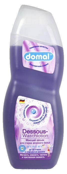 Моющий лосьон Domal для женского белья, 750 мл106-026Моющий лосьон для стирки женского белья (для цветных и белых вещей). На 20 стирок. Этот лосьон был специально разработан для мягкой и бережной стирки женского белья, тонких чулок и нежных аксессуаров. Он с особенной тщательностью отстирывает загрязнения, при этом ухаживая и защищая ткани от повреждений нежной структуры в процессе стирки. Придает белью приятную мягкость, гигиеническую чистоту и нежную чувственную свежесть. Сохраняет яркость и насыщенность цвета, предотвращает появление серости. Регулярное использование помогает надолго сохранить первоначальный вид белья. Не содержит агрессивных химических веществ. Дерматологически протестировано. Предназначено для всех типов стиральных машин и ручной стирки при температуре от 30 до 60 градусов. Содержит добавки, препятствующие образованию накипи. Экономичность: 1 флакона средства достаточно для 20 машинных стирок. Способ применения: Машинная стирка на 2,5 кг сухого белья см. указания на этикетке сзади. Ручная стирка: растворить 1 колпачок (37 мл) средства в 10 л воды. Обращайте внимание на инструкции по стирке на Вашем изделии! Состав (согласно нормам ЕС): 5-15% анионные тензиды, менее 5% неионных и амфотерных тензидов, консерванты, душистые вещества, экстракт кашемира, ланолин, краситель. Хранить в недоступном для детей, прохладном месте. При случайном проглатывании рекомендуется обратиться к врачу. При попадании в глаза немедленно промыть большим количеством воды.