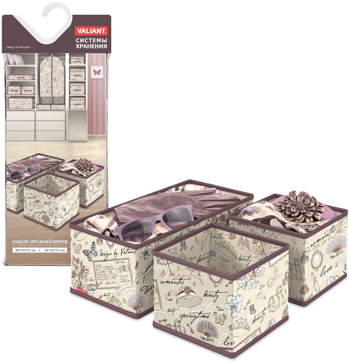 Набор органайзеров Valiant Romantic, 3 штБрелок для ключейНабор Valiant Romantic состоит из трех органайзеров для хранения аксессуаров. Изделия выполнены из высококачественного нетканого материала (спанбонда), который обеспечивает естественную вентиляцию, позволяя воздуху проникать внутрь, но не пропускает пыль. Вставки из плотного картона хорошо держат форму.Система хранения Romantic создаст трогательную атмосферу романтического настроения. Оригинальный дизайн придется по вкусу ценительницам эстетичного хранения. Размер органайзеров: 28 х 14 х 11 см, 14 х 14 х 11 см.
