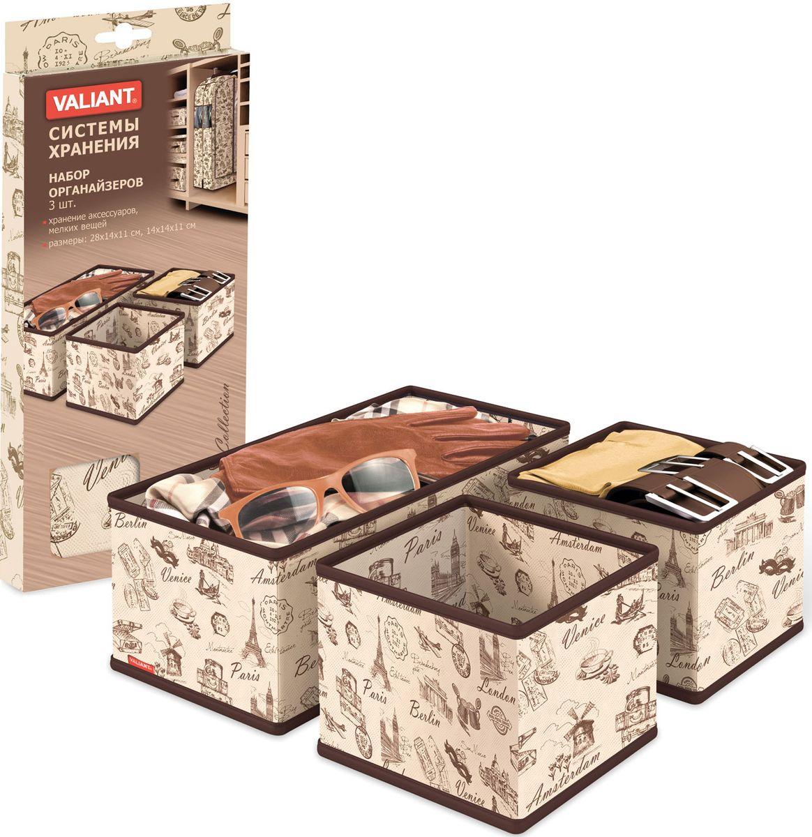Набор органайзеров Valiant Collection, 3 штCLP446Набор Valiant Collection состоит из трех органайзеров для хранения аксессуаров. Изделия выполнены из высококачественного нетканого материала (спанбонда), который обеспечивает естественную вентиляцию, позволяя воздуху проникать внутрь, но не пропускает пыль. Вставки из плотного картона хорошо держат форму.Система хранения Collection создаст трогательную атмосферу романтического настроения. Оригинальный дизайн придется по вкусу ценительницам эстетичного хранения. Размер органайзеров: 28 х 14 х 11 см, 14 х 14 х 11 см.