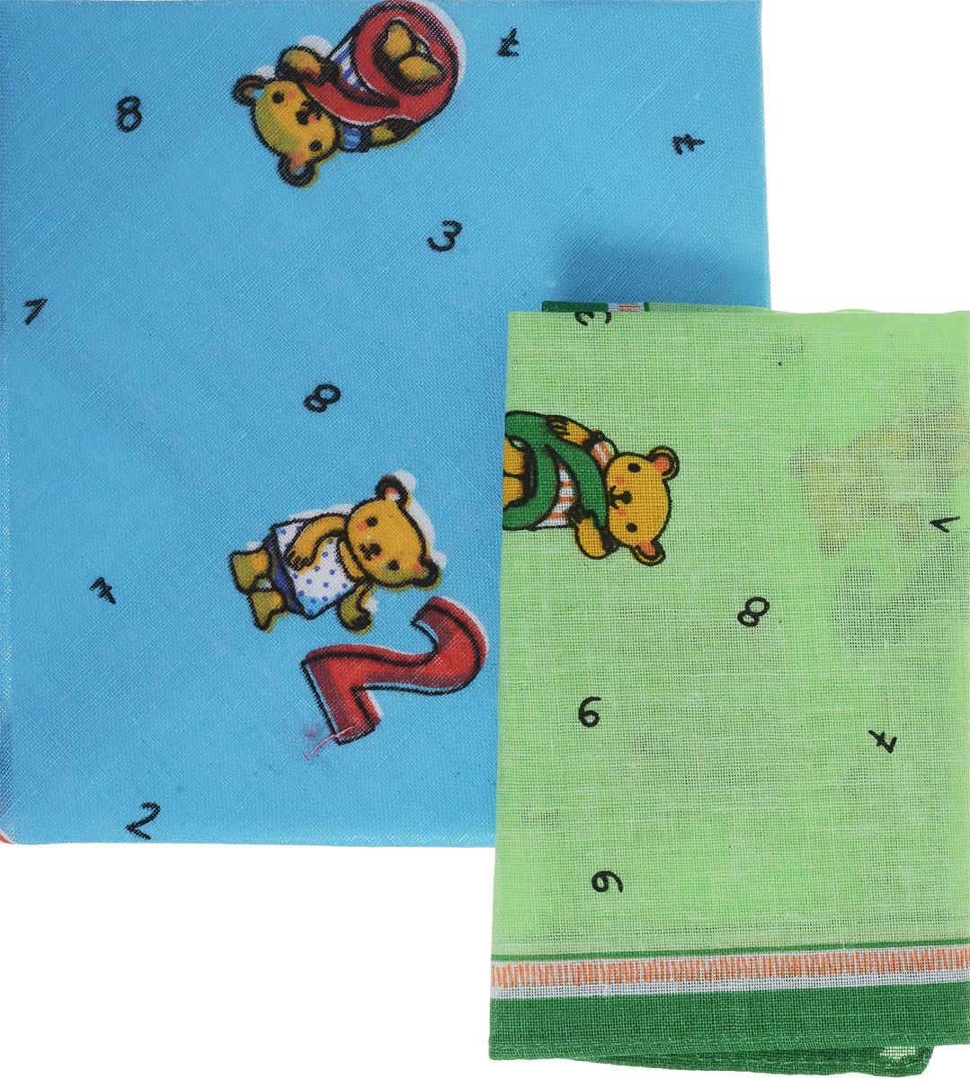 Платок носовой детский Zlata Korunka, цвет: голубой, зеленый. 40230-26. Размер 21 х 21 см, 2 штАжурная брошьДетский носовой платок Zlata Korunka изготовлен из высококачественного натурального хлопка, благодаря чему приятен в использовании. Платок хорошо стирается, не садится и отлично впитывает влагу. Платочек декорирован оригинальным принтом. В комплекте 2 платка.