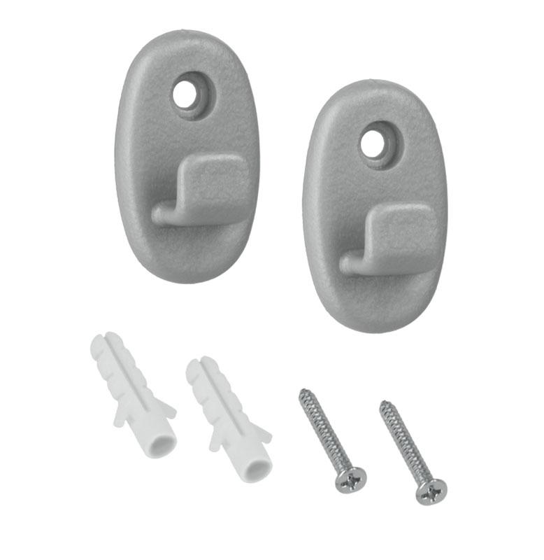 Крючки Metaltex Onda, 2 шт46.00.00Универсальный набор Metaltex Onda состоит из двух крючков, выполненных из прочного пластика. Крючок крепится к стене при помощи одного шурупа с дюбелем (входят в комплект).На крючки можно повесить полки для ванной комнаты, полки на кухню.Стильный дизайн изделий впишется в любой интерьер.