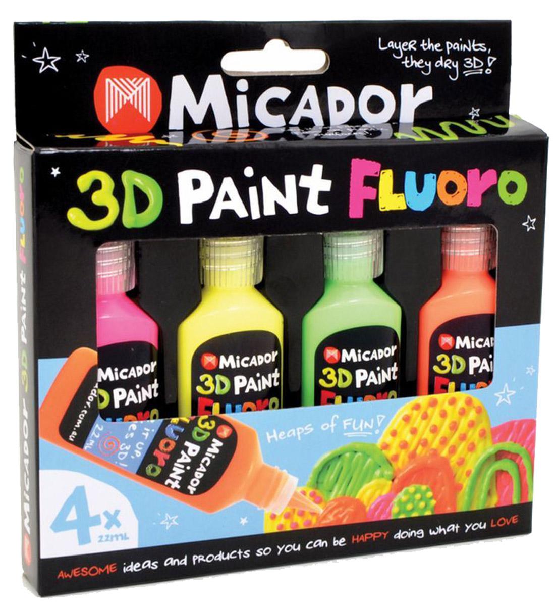 Micador 3D краски флуоресцентные 4 цветаCS-PM180-91430Потрясающая 3D краска Micador для трехмерной фантазии.Благодаря кремовидной структуре маленькие художники будут рисовать более опрятно. Краски быстро высыхают и отлично смываются в теплой мыльной воде, что обязательно оценят родители. Благодаря краскам с высокой пигментацией рисунки даже после высыхания остаются яркими. Не содержат токсичных веществ, полностью безопасны для детей. 3D рисование развивает пространственное мышление, логику, воображение, творческие способности, логику, память и мышление. Пусть мир вашего ребенка будет ярким, безопасным и многогранным!  исование .Австралийский бренд Micador - эксперт в товарах для детского творчества с 1954 года.