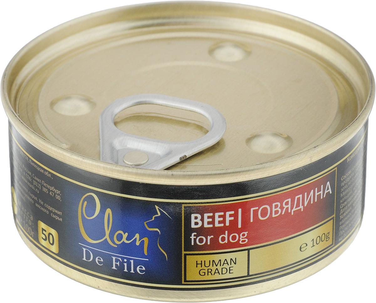 Консервы для собак Clan De File, с говядиной, 100 г0120710Clan De File - полнорационный влажный корм для каждодневного питания собак. У корма насыщенный вкус и сбалансированный состав. Консервы изготовлены из высококачественного мясного сырья. Для производства корма используется щадящая технология, бережно сохраняющая максимум питательных веществ и витаминов, отборное сырье и специально разработанная рецептура, которая обеспечивает продукции изысканный деликатесный вкус и ярко выраженный аромат. Товар сертифицирован.