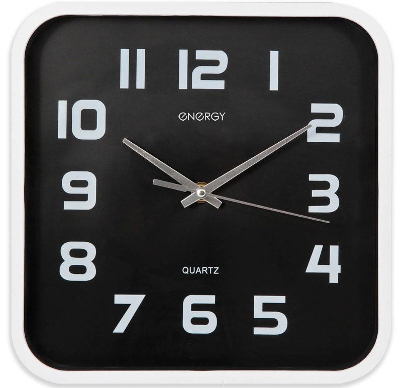 Energy ЕС-09 Квадратные настенные часыП6-6-91Настенные кварцевые часы с плавным ходом Energy ЕС-09 имеют классический строгий дизайн и поэтому подойдут как для дома, так и для офиса. Крупные цифры белого цвета отлично различимы в условиях плохого освещения. Питание осуществляется от 1 батарейки типа АА (в комплект не входит).
