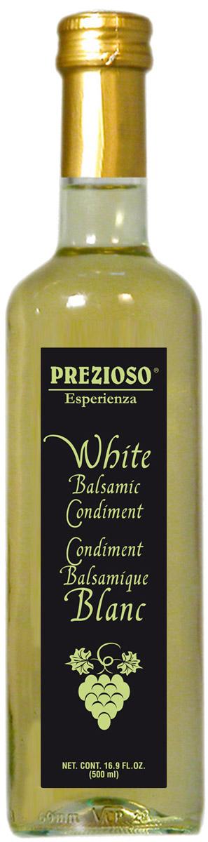 Prezioso Esperienza Уксус бальзамический светлый, 500 мл10.43.41Используемый в основном в качестве топинга, он придает блюдам законченный и изысканный вид, а также добавляет им оригинальную вкусовую нотку.