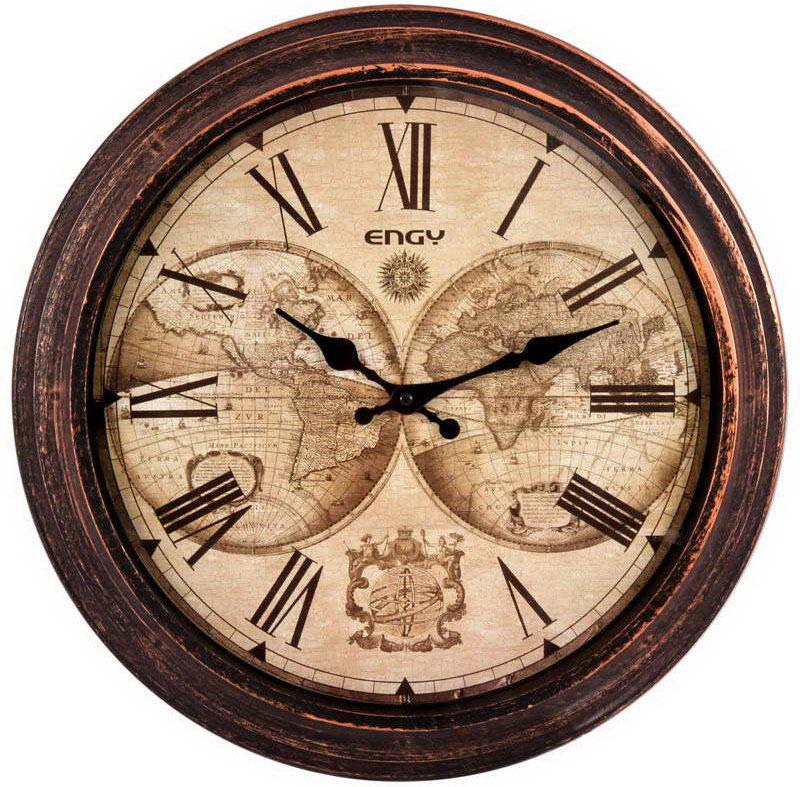 Engy ЕС-17 Круглые настенные часы54 009305Настенные кварцевые часы с плавным ходом Engy ЕС-17 имеют оригинальный дизайн под старину и поэтому подойдут для вашего дома или офиса, декорированного в подобном стиле. Крупные цифры черного цвета на светло-коричневом фоне отлично различимы даже в условиях плохого освещения. Питание осуществляется от 1 батарейки типа АА (в комплект не входит).