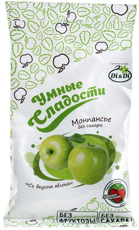 Умные сладости Леденцы без сахара зеленое яблоко, 55 г