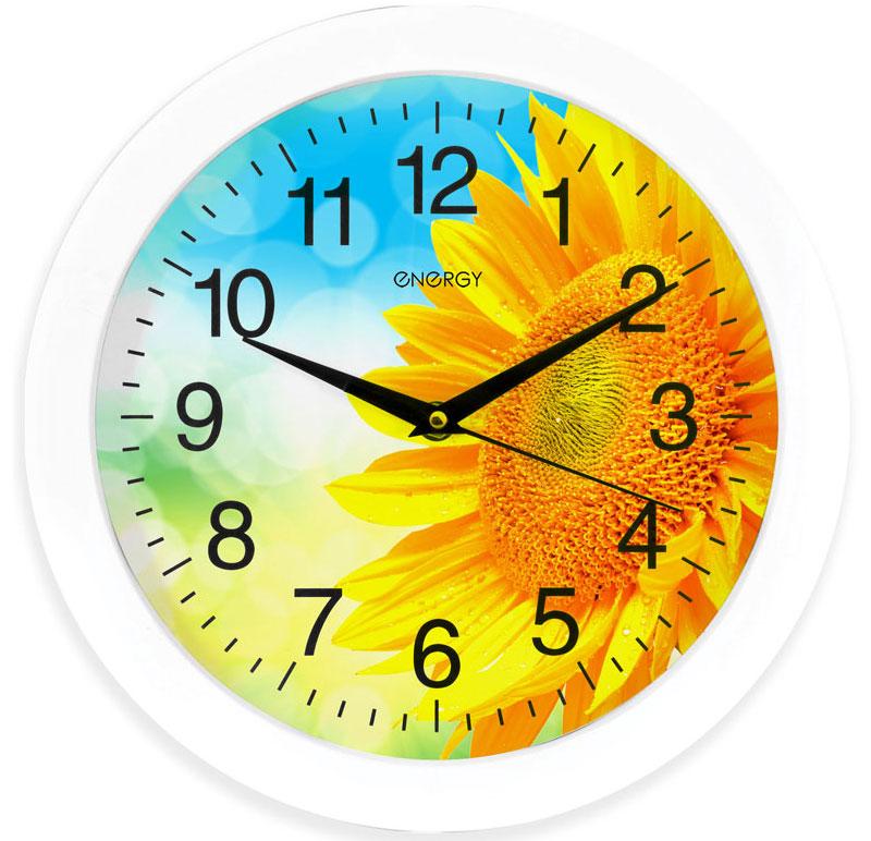 Energy ЕС-97 Подсолнух настенные часы94672Настенные кварцевые часы с плавным ходом Energy ЕС-97 имеют оригинальный яркий дизайн и поэтому подойдут для вашего дома или офиса, декорированного в подобном стиле. Крупные цифры черного цвета на цветном фоне отлично различимы даже в условиях плохого освещения. Питание осуществляется от 1 батарейки типа АА (в комплект не входит).