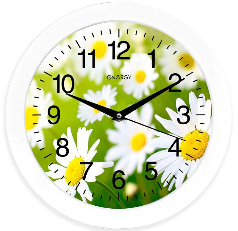 Energy ЕС-98 Ромашки настенные часы94672Настенные кварцевые часы с плавным ходом Energy ЕС-98 имеют оригинальный яркий дизайн и поэтому подойдут для вашего дома или офиса, декорированного в подобном стиле. Крупные цифры черного цвета на цветном фоне отлично различимы даже в условиях плохого освещения. Питание осуществляется от 1 батарейки типа АА (в комплект не входит).