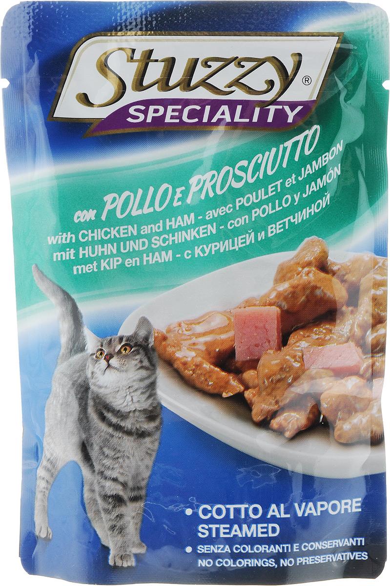 Консервы Stuzzy Speciality, для взрослых кошек, с курицей и ветчиной, 100 г0120710Консервы Stuzzy Speciality - это корм для взрослых кошек, который отличается большой натуральностью. В консервах есть все, что нужно вашей кошке: питательные вещества, минералы, витамины. Корм обогащены таурином и витамином Е для поддержания правильной работы сердца и иммунной системы. А также инулином, способствующим всасыванию питательных веществ, и биотином, делающим шерсть блестящей и шелковистой и поддерживающим здоровое состояние кожных покровов. Консервы имеют аппетитный вид, удивительный аромат и приятный вкус, который понравится питомцу!Товар сертифицирован.
