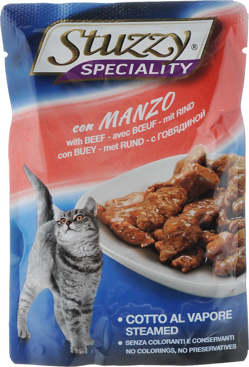 Консервы Stuzzy Speciality, для взрослых кошек, с говядиной, 100 г консервы для кошек stuzzy gold тунец в собственном соку 85 г