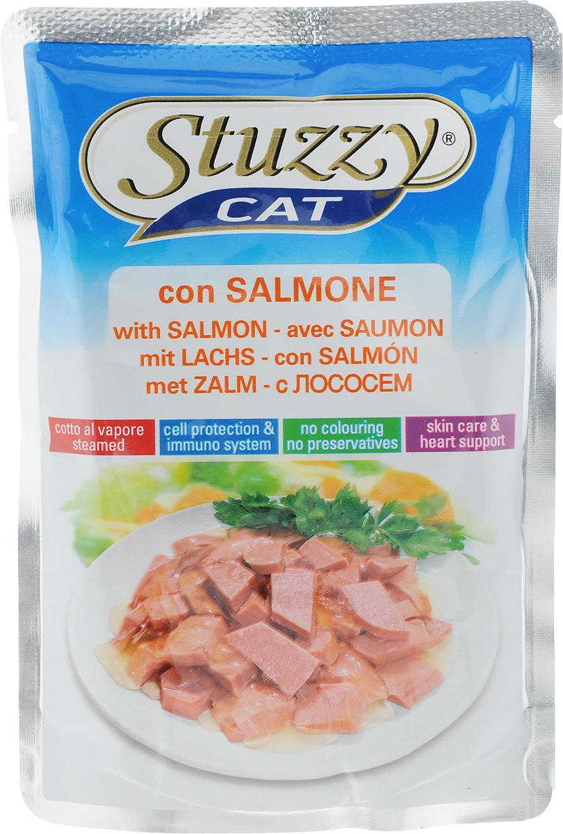 Консервы Stuzzy Сat, для взрослых кошек, с лососем, 100 г0120710Консервы Stuzzy Cat - это корм для взрослых кошек, который отличается естественностью. В консервах есть все, что нужно вашей кошке: питательные вещества, минералы, витамины.Консервы Stuzzy это аппетитные вкусы без усилителей, красителей и консервантов.Корм обогащен таурином и витамином Е для поддержания правильной работы сердца и иммунной системы. А также инулином, способствующим всасыванию питательных веществ и биотином, делающим шерсть блестящей и шелковистой и поддерживающим здоровое состояние кожных покровов.Консервы имеют аппетитный вид, удивительный аромат и приятный вкус, который понравится питомцу!Товар сертифицирован.