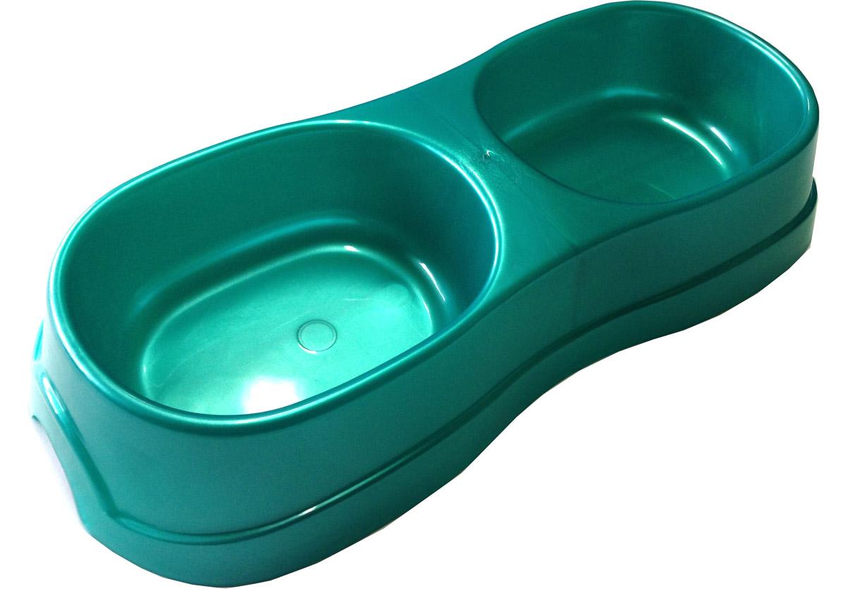 Миска для животных Атлантис, двойная, цвет: малахит, 2 х 300 мл12171996Двойная миска Атлантис - это функциональный аксессуар для собак, кошек и грызунов. Изделие выполнено из высококачественного цветного пластика. В миску можно положить два разных блюда - в каждое отделение. Миска легко моется. Ваш любимец будет доволен! Объем одной емкости: 300 мл.Размер изделия: 28 х 12,5 х 5 см.