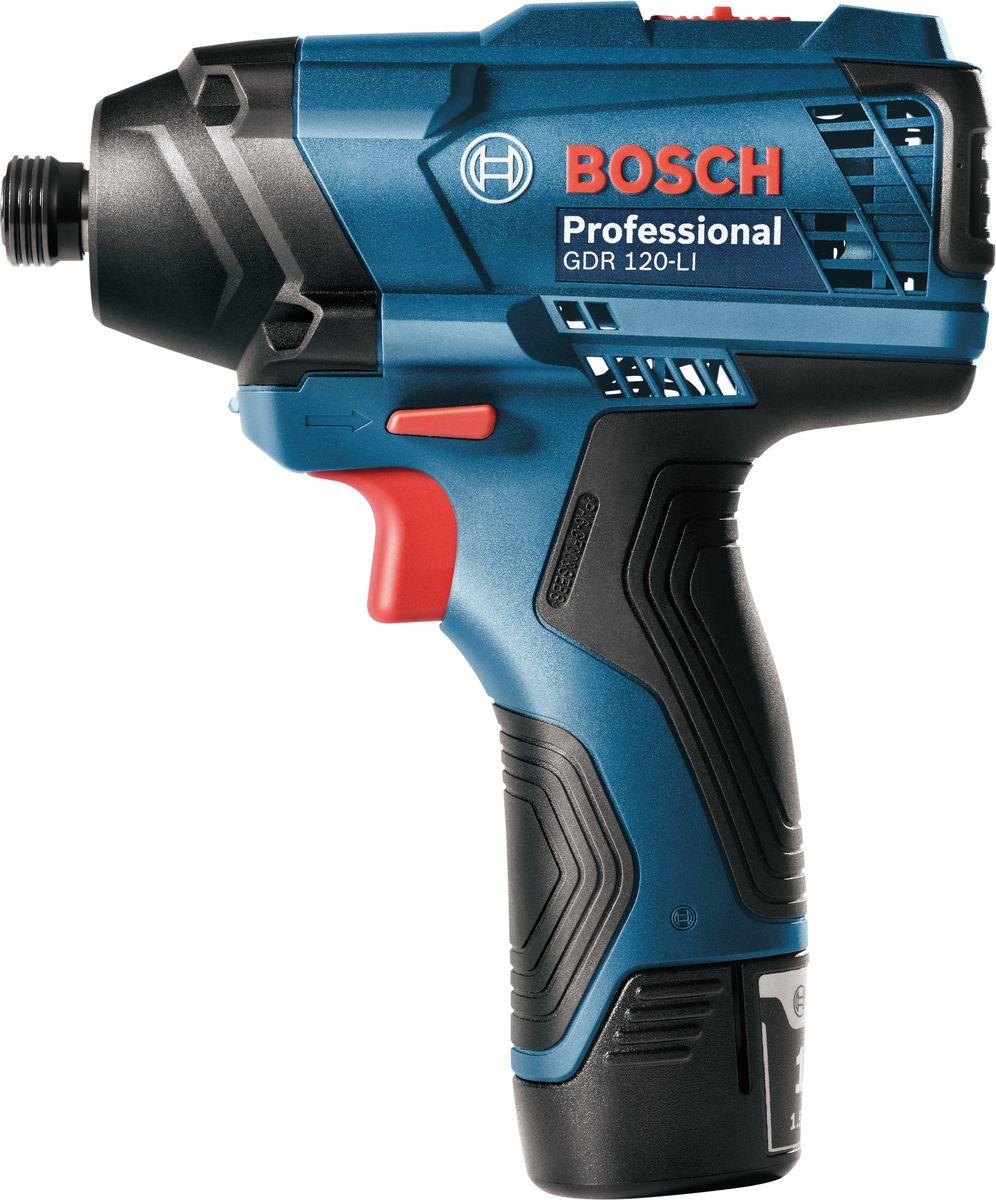 Ударный аккумуляторный гайковерт Bosch GDR 120-Li, без АКБ и з/у. 06019F000010000000166Преимущества изделия:Качество Bosch по доступной ценеОптимальная работа благодаря двухуровневой регуляции мощностиЛегкость в использовании благодаря эргономичному и компактному корпусуLED подсветка. Обзор технических характеристик:Емкость аккумулятора: 1.5 А•чЧисло оборотов холостого хода: 1.300 - 2.600 об/минЧисло оборотов холостого хода (1 уровень / 2 уровень): 0 – 1300 / 2600 об/минВремя зарядки: 90 минВес с аккумулятором: 1.05 кгКрутящий момент, макс.: 100 НмНом. частота ударов: 2800 - 3400 уд/минНапряжение аккумулятора: 12 ВДержатель бит: Внутр. шестигр. 1/4. Комплектация:ГайковертКартонная коробка