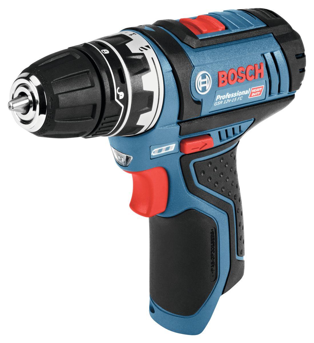 Аккумуляторная дрель-шуруповерт Bosch GSR 12V-15 FC, 2x2 А/ч, L-Boxx. 06019F600172/14/6Аккумуляторная дрель-шуруповерт c быстрозажимным сверлильным патроном FlexiClick в комплекте. Система Bosch FlexiClick предлагает широкий ассортимент насадок, которые можно использовать поотдельности, так и комбинировать между собой. Теперь работа в труднодоступных и тесных местах не составит труда! Преимущества изделия:Исключительно компактный корпус (132 мм) позволяет сверлить и заворачивать в труднодоступных местахИнтерфейс Bosch FlexiClick с встроенным магнитным держателем бит позволяет устанавливать держатель бит, сверлильный патрон, угловой сверлильный патрон и эксцентрикЭксцентрик можно регулировать и фиксировать на шуруповерте в 16 различных положенияхИнтерфейс «One-Click» гарантирует надежное и быстрое крепление на инструменте. Обзор технических характеристик:Макс. крутящий момент (жесткое заворачивание шурупов): 30 НмКрутящий момент, макс. (мягкое заворачивание шурупов): 15 НмМакс. крутящий момент (жесткое/мягкое заворачивание): 30 / 15 НмЧисло оборотов холостого хода (1-я/2-я скорость): 0 – 400 / 0 – 1300 об/минДиапазон хвостовиков для сверлильного патрона: 1 - 10 ммНапряжение аккумулятора: 12 ВБыстрозажимной сверлильный патрон: 10 ммЧисло ступеней крутящего момента: 20+1Макс. O отверстия в древесине: 30 ммМакс. диам. отверстия в стали: 10 ммМакс. O шурупов: 7 мм. Комплектация:Кейс L-BOXX 102Адаптер сверлильного патрона GFA 12-BБыстрозарядное устройство GAL 1230 CV2 аккумулятора GBA 12В 2,0А•ч1/2 вкладыш для кейса L-BOXX под инструмент и зарядное устройство