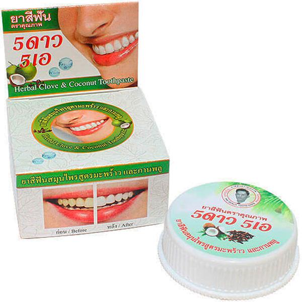 5 Star Cosmetic травяная отбеливающая зубная паста с экстрактом КокосаMP59.4DЭкстракт кокоса повышает защитные функции организма, укрепляет десны и зубы, избавляет от болезней ротовой полости, снимает налет и зубной камень, устраняет запах изо рта уменьшает воспаление и кровоточивость десен. Очень экономична. Не содержит консервантов, фтор и его производных.