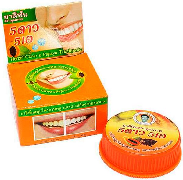 5 Star Cosmetic травяная отбеливающая зубная паста с экстрактом Папайи5010777139655В плодах папайи содержится папаин, который оказывает осветляющее действие на зубы, расщепляя белковую основу налета, поэтому его добавляют в зубные пасты. Благодаря мягкому очищению зубного налета, не оказывает абразивного воздействия и может входить в состав детских зубных паст. Зубная паста освежает полость рта, подходит для чувствительных зубов. Очень экономична. Не содержит консервантов, фтор и его производных.