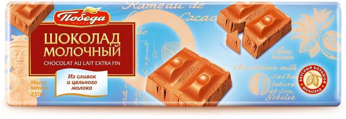 Победа вкуса Шоколад молочный из сливок и цельного молока, 250 г1209-R1Молочный шоколад Победа вкуса специально создан для тех, кто предпочитает изысканно-мягкие, теплые вкусовые ощущения молочного шоколада, слитые воедино с легко узнаваемым сильным вкусом какао-бобов из Кот-ДИвуара. Нежность этого продукта достигает необычайной легкости в пористом молочном шоколаде Победа вкуса.