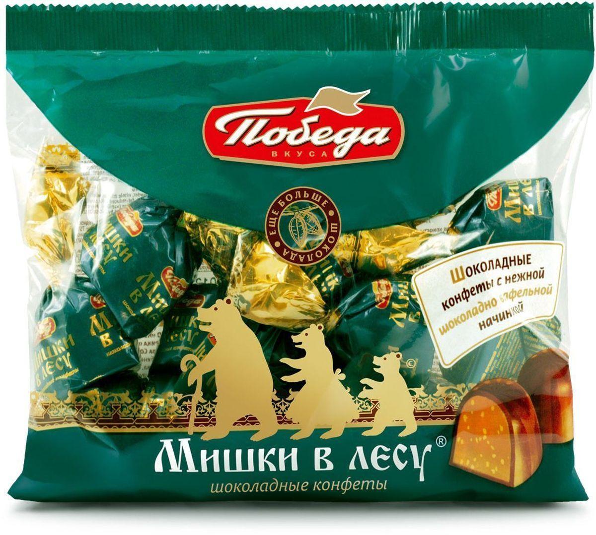 Победа вкуса Мишки в лесу шоколадные конфеты с шоколадно-вафельной начинкой, 200 г0120710Гармоничная композиция с мягкой молочно-шоколадной начинкой, хрустящим криспом в окружении молочного шоколада. Для тех, кто ценит традиции и любит чаепитие в кругу семьи и друзей.
