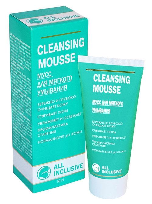 All Inclusive Мусс для мягкого умывания Cleansing Mousse, 50 млSS05040600Уже на стадии очищения мусс восстанавливает жизненные силы кожи, возвращая ей свежесть. Тщательно сбалансированный комплекс экстрактов лекарственных растений зверобоя, календулы, ромашки и череды является живительным источником витаминов, которые прекрасно освежают, тонизируют и восстанавливают кожу, смягчают ее, а также действуют как антиоксиданты. Масло рыжика богато полиненасыщенными жирными кислотами, благодаря чему питает и активно увлажняет кожу. Специально подобранная комбинация активных компонентов бережно удаляет макияж и различные загрязнения и очищает кожу любого типа, не пересушивая ее, нормализует рН кожи. Превращающийся в мягкую пену мусс великолепно очищает кожу, не вызывая раздражения, приносит ощущение чистоты и свежести. Защищает от негативного действия хлорированной водопроводной воды.