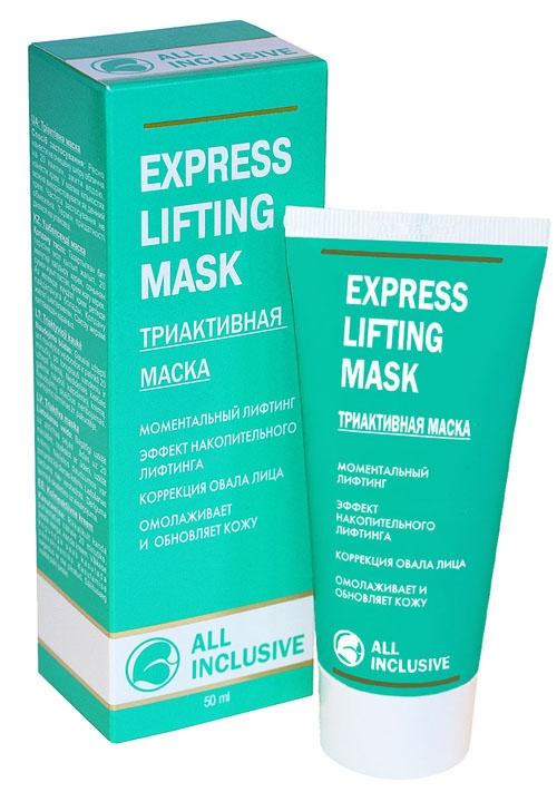 All Inclusive Триактивная маска Express Lifting Mask, 50 мл83015065Комбинация биологически активных соединений и экстрактов василька, зеленого чая, каштана, красного винограда, ламинарии и перца обеспечивает тройной эффект: моментальный лифтинг, коррекцию овала лица и разглаживание морщин. Уникально подобранный комплекс днем и ночью помогает существенно ускорять естественный процесс восстановления кожи, необходимый для поддержания ее здоровья. Маска нейтрализует агрессивные раздражающие факторы окружающей среды еще до того, как они приведут к преждевременному старению. Витамин Е, D-пантенол, коллаген и комплекс натуральных растительных маселуменьшают видимые последствия ежедневного стресса и помогают восполнить резерв антиоксидантов и липидов, жизненно важных для естественной защиты кожи.
