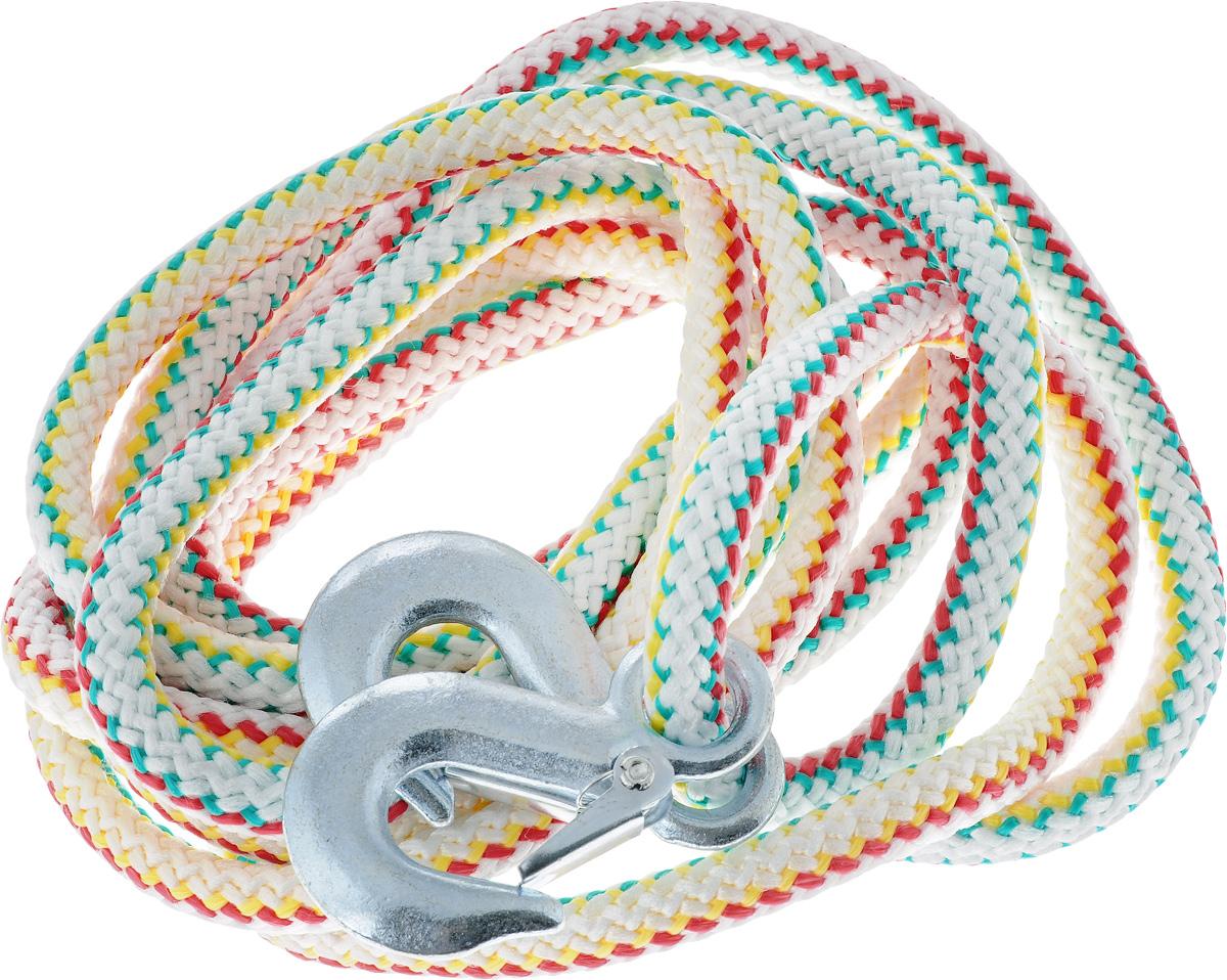 Трос-шнур альпинистский Главдор, с 2 крюками, цвет: красный, зеленый, желтый, диаметр 16 мм, 5 т, 4,73 мPANTERA SPX-2RSАльпинистский трос Главдор представляет собой шнур из сверхпрочной полипропиленовой нити с двумя стальными крюками. Специальное плетение веревки обеспечивает эластичность троса и плавный старт автомобиля при буксировке. На протяжении всего срока службы не меняет свои линейные размеры.Трос морозостойкий и влагостойкий. Длина троса соответствует ПДД РФ.Буксировочный трос обязательно должен быть в каждом автомобиле. Он необходим на случай аварийной ситуации или если ваш автомобиль застрял на бездорожье. Максимальная нагрузка: 5 т.Длина троса: 4,73 м.Диаметр троса: 16 мм.