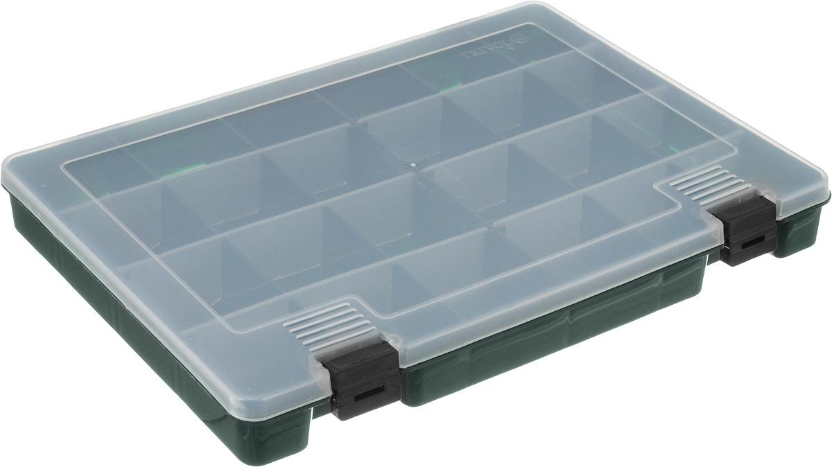 Коробка для мелочей Trivol, цвет: темно-зеленый, прозрачный, 27,4 х 18,8 х 4,5 смRG-D31SКоробка для мелочей Trivol, выполненная из прочного полипропилена (пластика), отлично подойдет для хранения канцелярских принадлежностей дома или в офисе, аксессуаров для шитья и рукоделия, болтов и гаек, а также принадлежностей для рыбалки и других видов хобби. Изделие имеет прочные съемные разделители, с помощью которых можно регулировать количество ячеек. Прозрачный материал позволяет видеть содержимое. Крышка коробки плотно закрывается на 2 защелки. Коробка легко моется и чистится. Она поможет держать ваши вещи в порядке. Размер ячейки: 4,5 х 4,5 х 4 см.