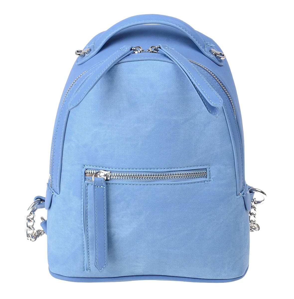 Рюкзак женский Dispacci, цвет: голубой. 3259923008Модели итальянского бренда Dispacci совмещают в себе стиль, практичность и безукоризненное качество изготовления. Чтобы ваш рюкзак сумка всегда оставался в целости и выглядел как новый, дизайнеры Dispacci продумали его конструкцию до мельчайших деталей. Вся фурнитура, пряжки, замки и молнии сделаны из металла, а места креплений лямок и верхней ручки прошиты крепкими нитками. Мы предлагаем очень практичную модель с вместительным центральным отделением и наружным карманом, который закрывается на молнию. Для удобства открывания все замки снабжены стильными цифрами из экокожи. Рюкзак в комплекте с широким ремнем декорированным цветочками из экокожи в цвет изделия. Высота ручки 5 см.