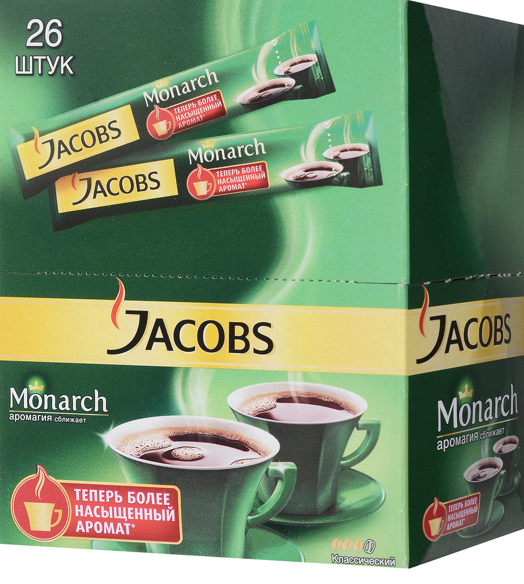Jacobs Monarch кофе растворимый в пакетиках, 26 шт0120710Jacobs Monarch обладает богатым, классическим вкусом и притягательным ароматом благодаря искусному сочетанию отборных кофейных зерен и глубокой обжарке. Почувствуйте как его Аромагия заполняет все вокруг, создавая атмосферу теплоты и общения.Уважаемые клиенты! Обращаем ваше внимание на то, что упаковка может иметь несколько видов дизайна. Поставка осуществляется в зависимости от наличия на складе.