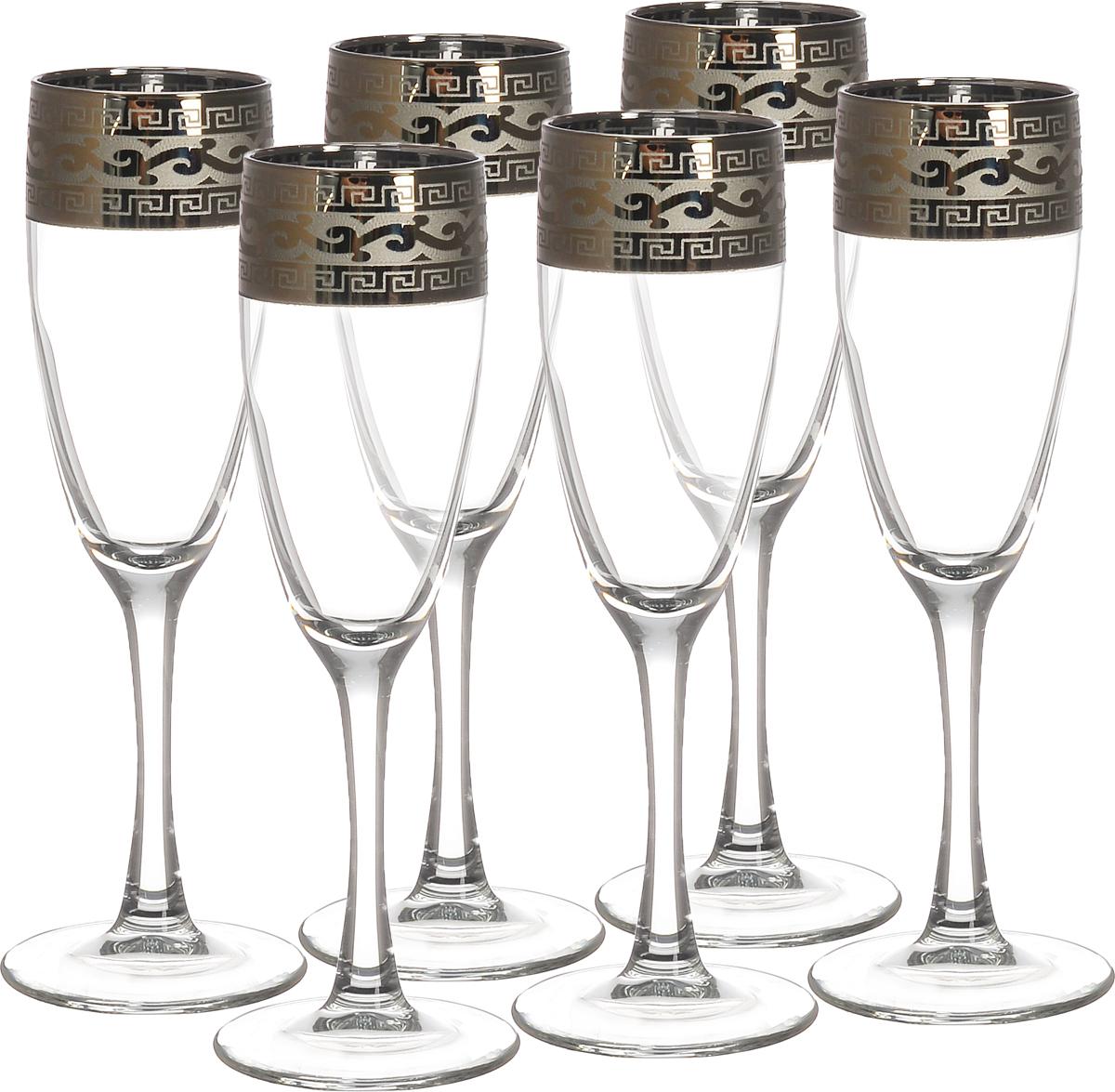 Набор бокалов Гусь-Хрустальный Версаче, 170 мл, 6 штVT-1520(SR)Набор Гусь-Хрустальный Версаче состоит из 6 бокалов на длинных тонких ножках, изготовленных из высококачественного натрий-кальций-силикатного стекла. Изделия оформлены орнаментом. Бокалы предназначены для шампанского или вина. Такой набор прекрасно дополнит праздничный стол и станет желанным подарком в любом доме. Разрешается мыть в посудомоечной машине. Диаметр бокала (по верхнему краю): 5 см. Высота бокала: 20 см.