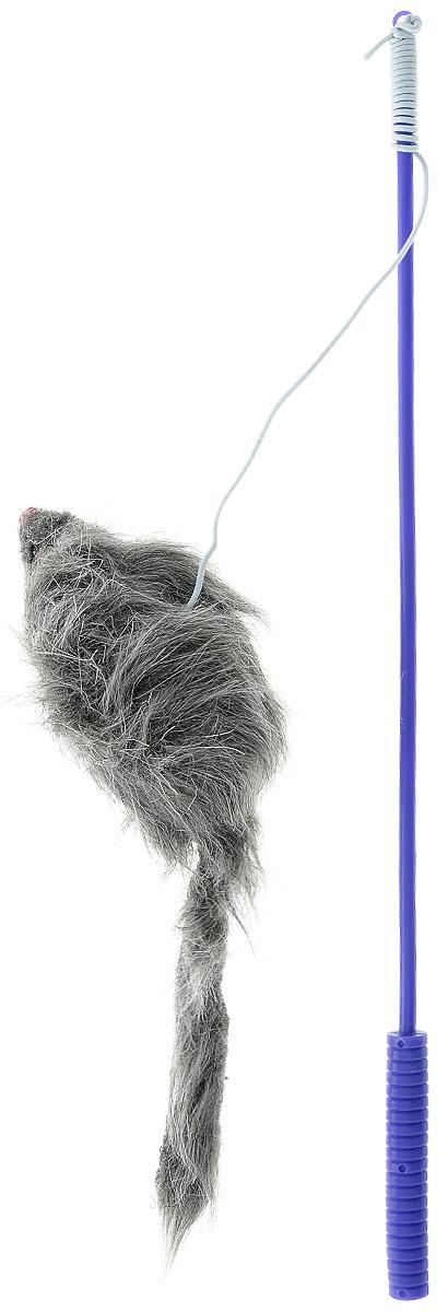 Дразнилка-удочка для кошек V.I.Pet Мышь, цвет: фиолетовый, серый0120710Дразнилка-удочка для кошек V.I.Pet Мышь, изготовленная из текстиля и пластика, прекрасно подойдет для веселых игр вашего пушистого любимца. Играя с этой забавной дразнилкой, маленькие котята развиваются физически, а взрослые кошки и коты поддерживают свой мышечный тонус. Кроме того, дразнилка спасет руки владельца от царапин во время игры. Яркая игрушка на конце удочки сразу привлечет внимание вашего любимца, не навредит здоровью и увлечет его на долгое время. Длина удочки: 37 см.Размер игрушки: 10 х 4 х 3 см.