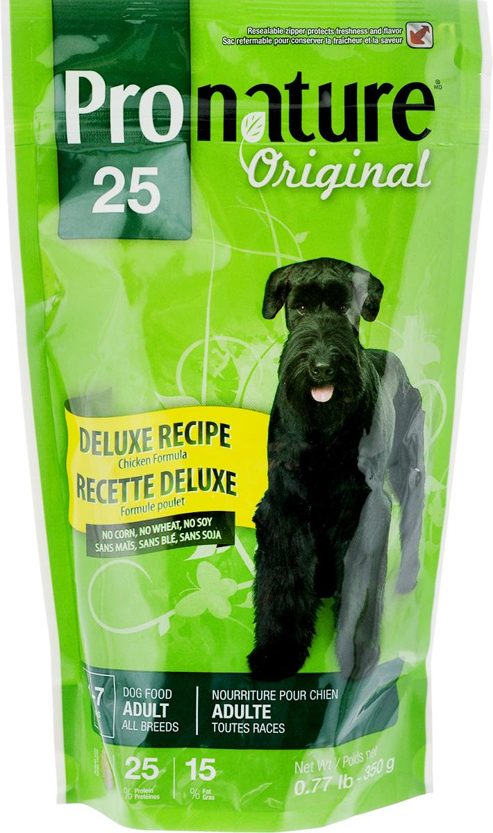 Корм сухой Pronature Original 25, для взрослых собак, с цыпленком, 350 г0120710Pronature Original 25- это полноценный сбалансированный сухой корм суперпремиум класса. Изготовлен на основе муки из мяса курицы. Без пшеницы, кукурузы, сои.Корм предназначен для собак с чувствительным желудком и склонности к аллергии. Хорошо усваивается и удовлетворяет всем потребностям чувствительного организма.Не содержит красителей, искусственных ароматизаторов, сои, субпродуктов (мясокостной муки) и ГМО.Натуральные источники пребиотиков способствуют росту нормальной кишечной микрофлоры, укрепляют иммунитет и помогают организму бороться с болезнетворными бактериями.Корм подходит для собак в возрасте от 1 года до 7 лет.Товар сертифицирован.