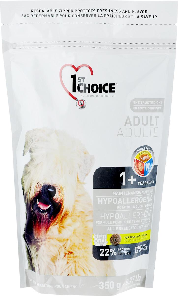 Корм сухой 1st Choice Adult для взрослых собак, гипоаллергенный, с уткой и картофелем, 350 г102.6.006Корм сухой 1st Choice предназначен для собак. Свежая утка (источник гипоаллергенных протеинов) - главный ингредиент этой сбалансированной и вкусной формулы. Корм создан специально для собак с чувствительным желудком и страдающих пищевой аллергией. Без пшеницы, кукурузы и сои.Подходит для взрослых собак от 1 года старше. Товар сертифицирован.