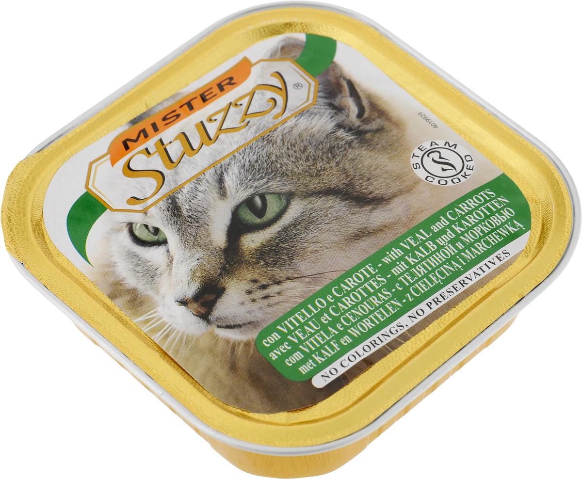 Консервы для кошек Stuzzy Mister, с телятиной и морковью, 100 г130.3.104Stuzzy Mister - это полнорационный корм для взрослых кошек. Корм обогащен таурином и витамином Е для поддержания правильной работы сердца и иммунной системы. Инулин обеспечивает всасывание питательных веществ, а биотин способствуют великолепному внешнему виду кожи и шерсти. Корм приготовлен на пару, не содержит красителей и консервантов. Товар сертифицирован.