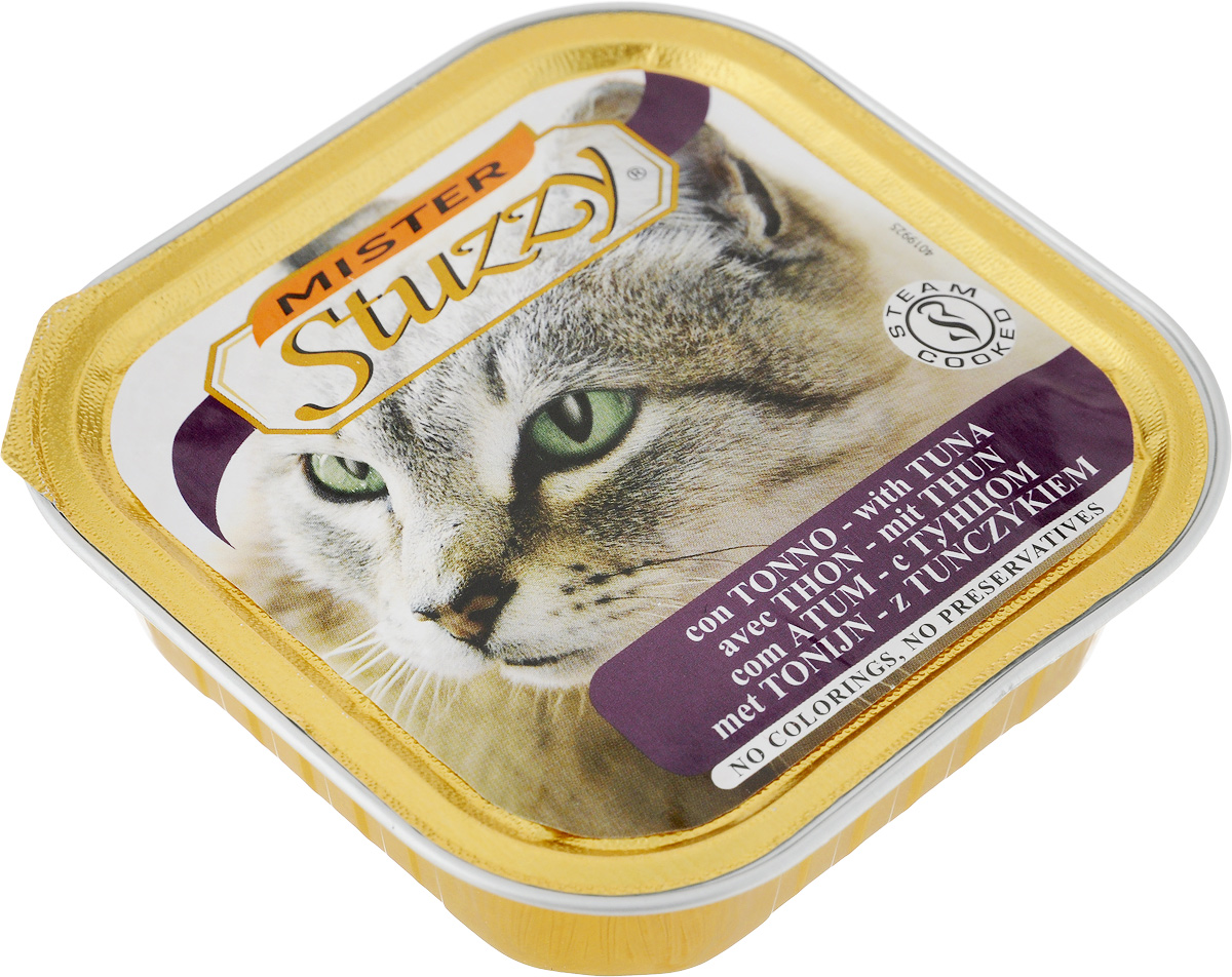 Консервы для кошек Stuzzy Mister, с тунцом, 100 г00-00001466Stuzzy Mister - это полнорационный корм для взрослых кошек. Корм обогащен таурином и витамином Е для поддержания правильной работы сердца и иммунной системы. Инулин обеспечивает всасывание питательных веществ, а биотин способствуют великолепному внешнему виду кожи и шерсти. Корм приготовлен на пару, не содержит красителей и консервантов. Товар сертифицирован.