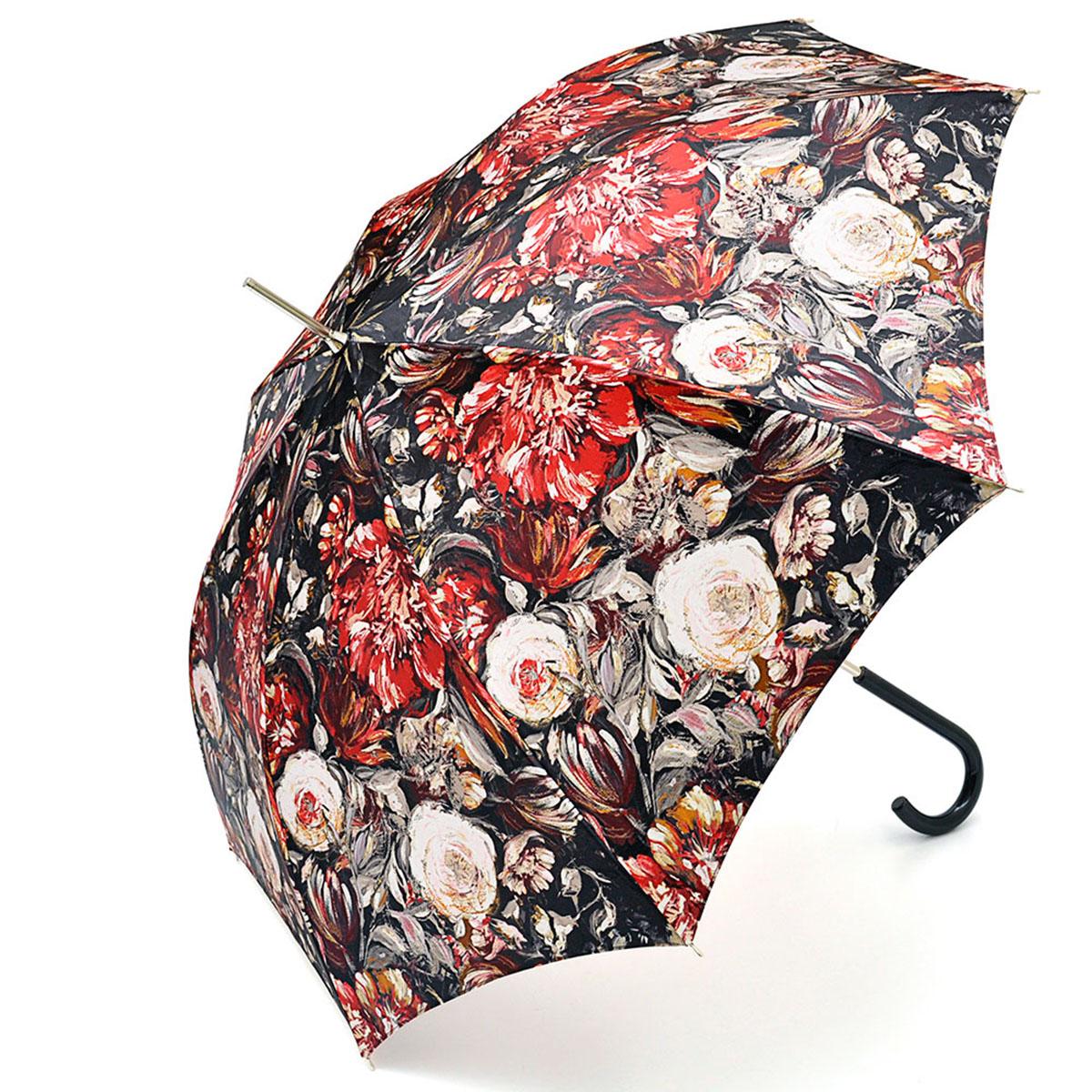 Зонт-трость женский Stilla, цвет: черный, красный, белый. 694/1 autoYY-11678-3Зонт-трость Stilla надежно защитит вас от дождя. Купол, оформленный оригинальным принтом, выполнен из высококачественного ПВХ, который не пропускает воду.Каркас зонта и спицы выполнены из высококарбонистой стали. Зонт имеет автоматический тип сложения: открывается и закрывается при нажатии на кнопку. Удобная ручка выполнена из пластика.