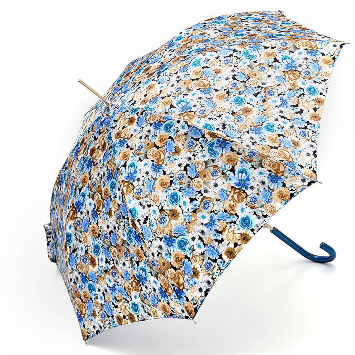 Зонт-трость женский Stilla, цвет: голубой, коричневый, белый. 695/2 autoCX1516-50-10Зонт-трость Stilla надежно защитит вас от дождя. Купол, оформленный оригинальным принтом, выполнен из высококачественного ПВХ, который не пропускает воду.Каркас зонта и спицы выполнены из высококарбонистой стали. Зонт имеет автоматический тип сложения: открывается и закрывается при нажатии на кнопку. Удобная ручка выполнена из пластика.