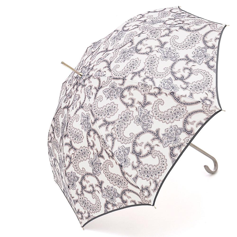 Зонт-трость женский Stilla, цвет: белый, серо-сиреневый. 697/2 autoCX1516-50-10Зонт-трость Stilla надежно защитит вас от дождя. Купол, оформленный оригинальным принтом, выполнен из высококачественного ПВХ, который не пропускает воду.Каркас зонта и спицы выполнены из высококарбонистой стали. Зонт имеет автоматический тип сложения: открывается и закрывается при нажатии на кнопку. Удобная ручка выполнена из пластика.