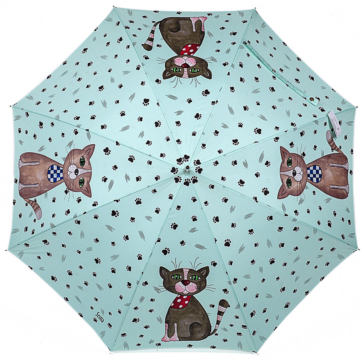 Зонт-трость женский Stilla, цвет: светло-бирюзовый, коричневый. 729/2 autoПуссеты (гвоздики)Зонт-трость Stilla надежно защитит вас от дождя. Купол, оформленный оригинальным принтом, выполнен из высококачественного ПВХ, который не пропускает воду.Каркас зонта и спицы выполнены из высококарбонистой стали. Зонт имеет автоматический тип сложения: открывается и закрывается при нажатии на кнопку. Удобная ручка выполнена из пластика.