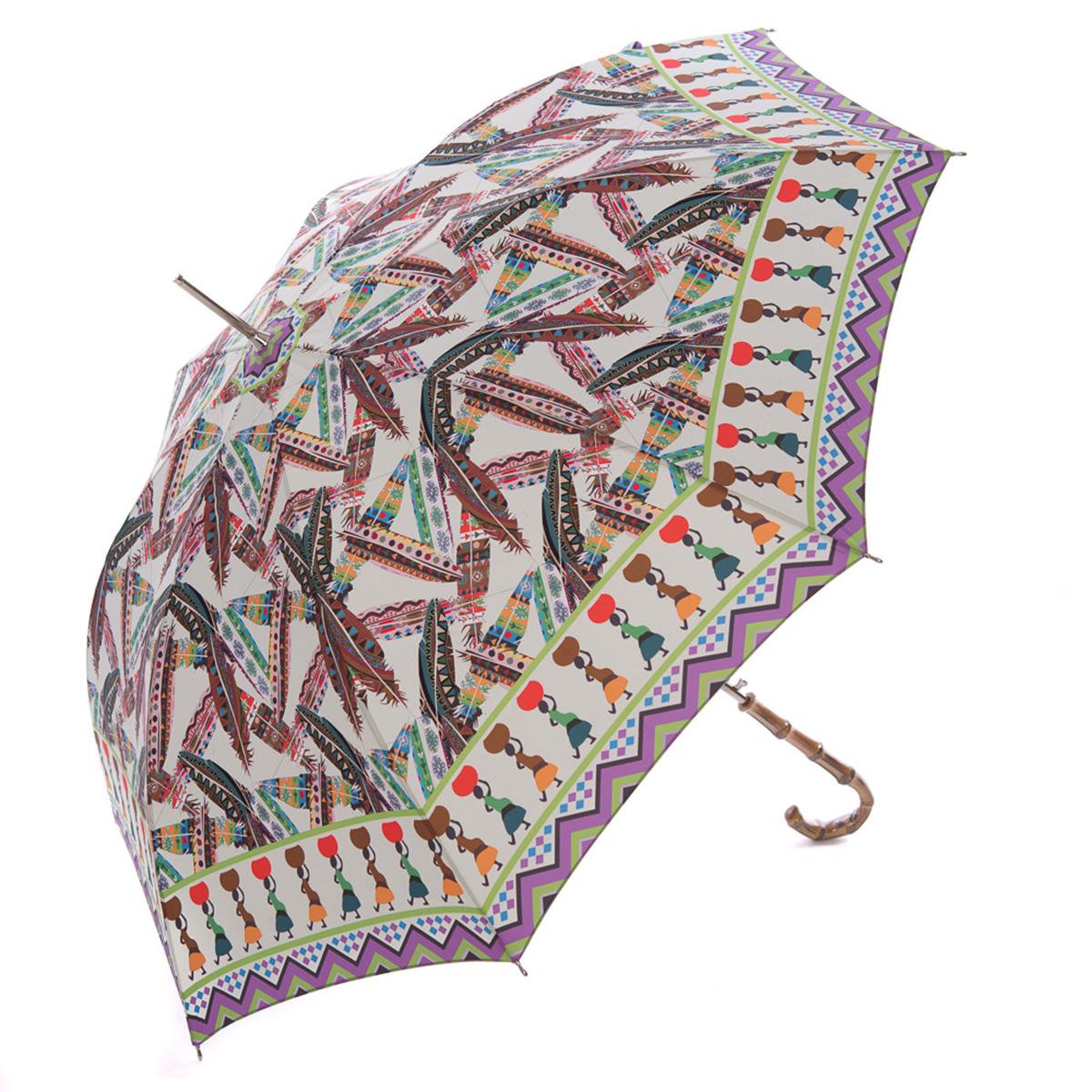 Зонт-трость женский Stilla, цвет: белый, мультиколор. 739/2 autoCX1516-50-10Зонт-трость Stilla надежно защитит вас от дождя. Купол, оформленный оригинальным принтом, выполнен из высококачественного ПВХ, который не пропускает воду.Каркас зонта и спицы выполнены из высококарбонистой стали. Зонт имеет автоматический тип сложения: открывается и закрывается при нажатии на кнопку. Удобная ручка выполнена из пластика.