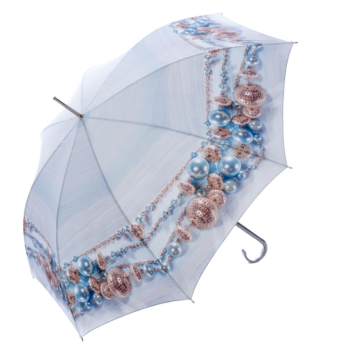 Зонт-трость женский Stilla, цвет: голубой. 740/1 auto45100738/18076/4D00NЗонт-трость Stilla надежно защитит вас от дождя. Купол, оформленный оригинальным принтом, выполнен из высококачественного ПВХ, который не пропускает воду.Каркас зонта и спицы выполнены из высококарбонистой стали. Зонт имеет автоматический тип сложения: открывается и закрывается при нажатии на кнопку. Удобная ручка выполнена из пластика.