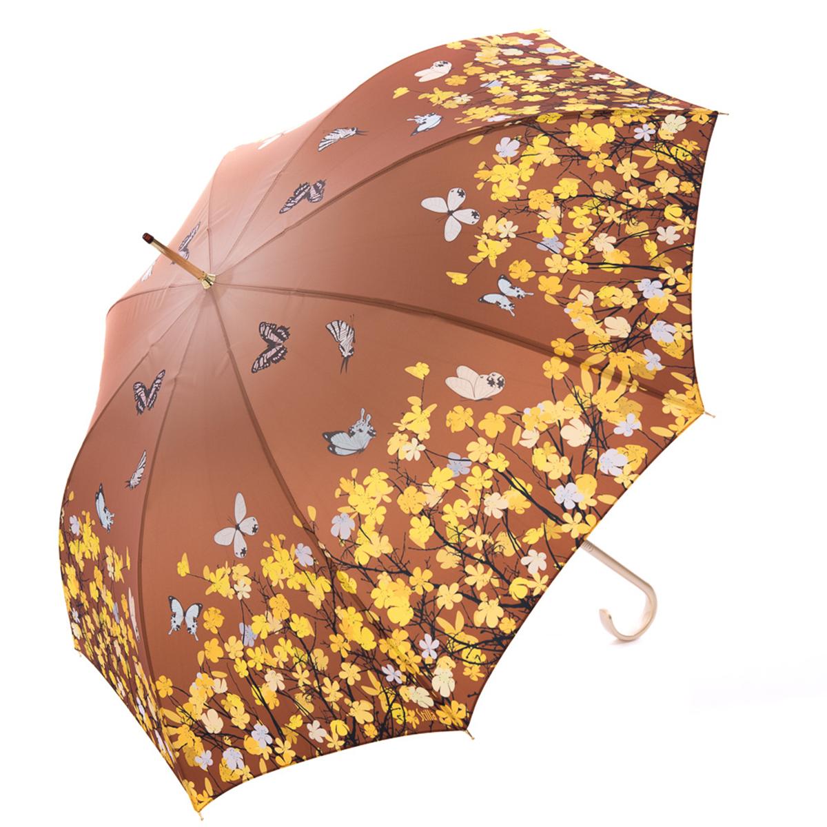 Зонт-трость женский Stilla, цвет: коричневый, желтый. 741/1 auto2591АЗонт-трость Stilla надежно защитит вас от дождя. Купол, оформленный оригинальным принтом, выполнен из высококачественного ПВХ, который не пропускает воду.Каркас зонта и спицы выполнены из высококарбонистой стали. Зонт имеет автоматический тип сложения: открывается и закрывается при нажатии на кнопку. Удобная ручка выполнена из пластика.